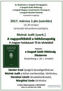 Molnár Judit könyvbemutató @ Szegedi Zsidó Hitközség